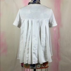 Anthro Moth Pleated Back Tee Top Pockets Swing Kni